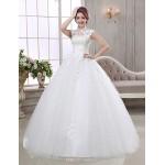 Ball Gown Wedding Dress - Ivory Floor-length High Neck Organza Wedding Dresses