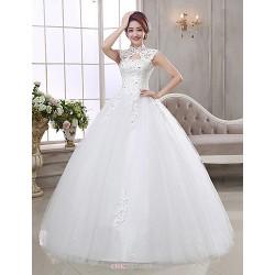 Ball Gown Wedding Dress - Ivory Floor-length High Neck Organza