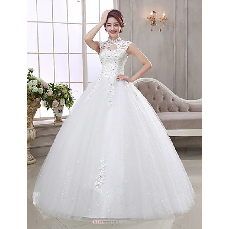 c7268c75ec2 Ball Gown Wedding Dress - Ivory Floor-length High Neck Organza Wedding  Dresses