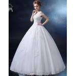 Ball Gown Wedding Dress - Ivory Floor-length Off-the-shoulder Satin / Tulle Wedding Dresses