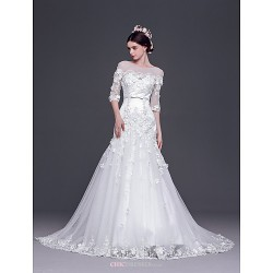 A Line,Princess Sweep Brush Train Wedding Dress Bateau Tulle