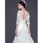 A-line,Princess Sweep/Brush Train Wedding Dress -Bateau Tulle Wedding Dresses