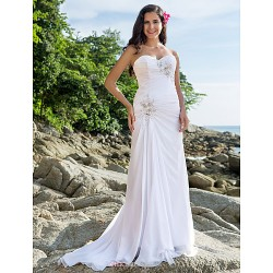 Sheath Column Plus Sizes Wedding Dress White Court Train Sweetheart Chiffon