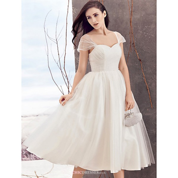 A-line Wedding Dress - Ivory Tea-length Queen Anne Tulle Wedding Dresses