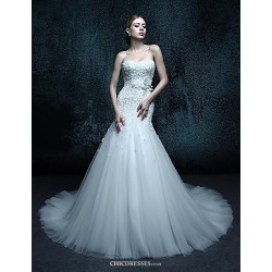 Trumpet Mermaid Chapel Train Wedding Dress Sweetheart Tulle