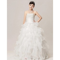 Ball Gown Wedding Dress White Floor Length Strapless Organza