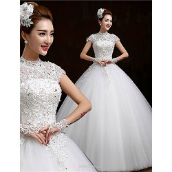 Ball Gown Floor Length Wedding Dress High Neck Tulle