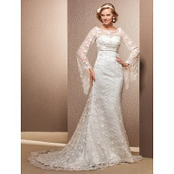 Trumpet Mermaid Plus Sizes Wedding Dress Ivory Court Train Scoop Lace