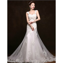 Trumpet/Mermaid Court Train Wedding Dress -Straps Tulle