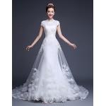 Ball Gown Wedding Dress Court Train Jewel Tulle Wedding Dresses