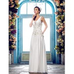 Sheath/Column Plus Sizes Wedding Dress - Ivory Floor-length V-neck Chiffon Wedding Dresses