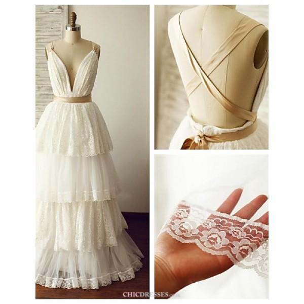 A-line Wedding Dress - Ivory Floor-length V-neck Lace / Tulle Wedding Dresses