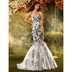 Fit & Flare Misses/Pear/Inverted Triangle/Hourglass/Apple/Petite Wedding Dress - Print Court Train Spaghetti Straps Lace/Organza/Satin