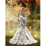 Fit & Flare Misses/Pear/Inverted Triangle/Hourglass/Apple/Petite Wedding Dress - Print Court Train Spaghetti Straps Lace/Organza/Satin Wedding Dresses