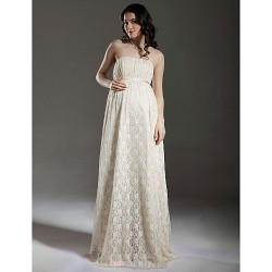 Sheath Column Maternity Wedding Dress Champagne Floor Length Strapless Lace