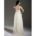 Sheath/Column Maternity Wedding Dress - Champagne Floor-length Strapless Lace Wedding Dresses