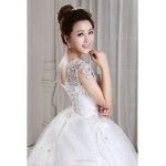 Ball Gown Floor Length Wedding Dress V Neck Tulle