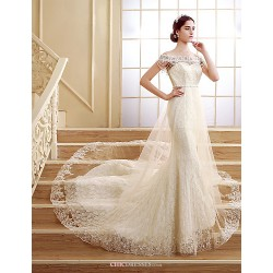 Trumpet Mermaid Court Train Wedding Dress Off The Shoulder Lace