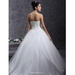 Ball Gown Plus Sizes Wedding Dress - Ivory Floor-length Strapless Tulle Wedding Dresses