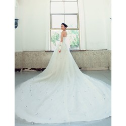 Ball Gown Wedding Dress White Chapel Train Strapless Lace