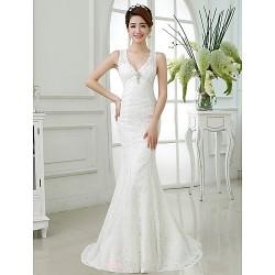 Trumpet/Mermaid Wedding Dress - Ruby / Ivory Sweep/Brush Train V-neck Lace