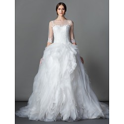 Ball Gown Wedding Dress Ivory Court Train Bateau Lace Organza