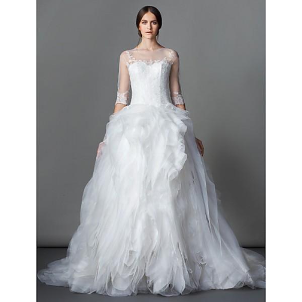 Ball Gown Wedding Dress - Ivory Court Train Bateau Lace / Organza Wedding Dresses