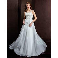 A Line Princess Wedding Dress Ivory Floor Length Square Chiffon