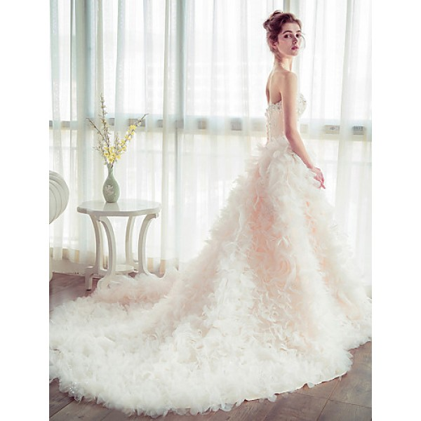 Ball Gown Wedding Dress - Champagne Chapel Train Strapless Tulle Wedding Dresses