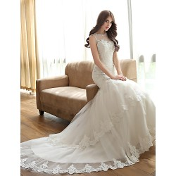 Trumpet Mermaid Wedding Dress Ivory Court Train Bateau Tulle