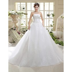 A Line Cathedral Train Wedding Dress Strapless Tulle
