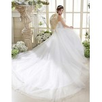 A-line Cathedral Train Wedding Dress -Strapless Tulle Wedding Dresses