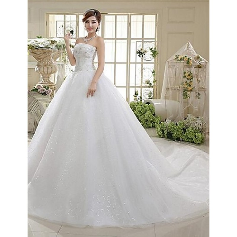 Cheap Wedding Dresses Colorado Springs: A-line Cathedral Train Wedding Dress -Strapless Tulle