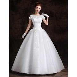 Ball Gown Floor Length Wedding Dress Bateau Lace