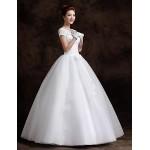 Ball Gown Floor Length Wedding Dress Bateau Lace