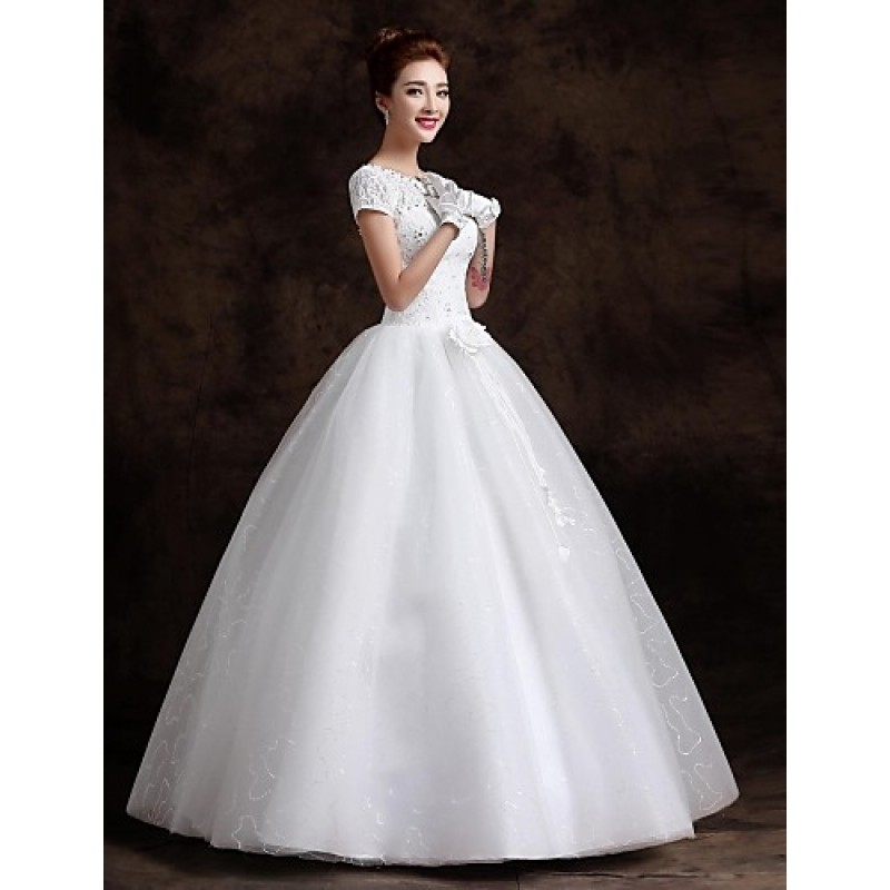 Ball Gown Floor-length Wedding Dress -Bateau Lace,Cheap Uk