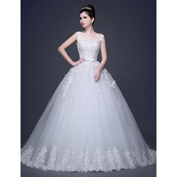 A Line Wedding Dress Scoop Lace Tulle