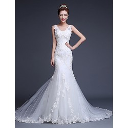 Fit & Flare Wedding Dress Court Train V Neck Tulle