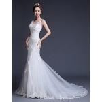 Fit & Flare Wedding Dress Court Train V-neck Tulle Wedding Dresses