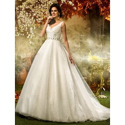 A Line Princess Plus Sizes Wedding Dress Ivory Sweep Brush Train V Neck Tulle Sequined