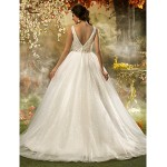 A-line/Princess Plus Sizes Wedding Dress - Ivory Sweep/Brush Train V-neck Tulle/Sequined Wedding Dresses
