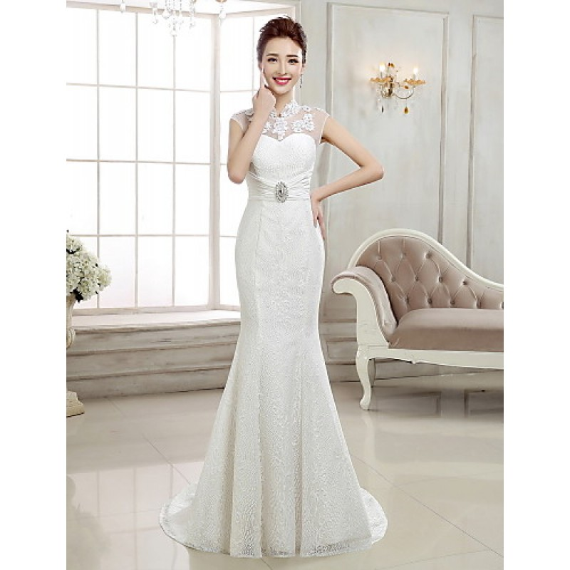 Trumpet/Mermaid Sweep/Brush Train Wedding Dress -High Neck