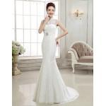 Trumpet/Mermaid Sweep/Brush Train Wedding Dress -High Neck Lace Wedding Dresses