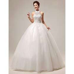 Ball Gown Floor Length Wedding Dress Halter Organza