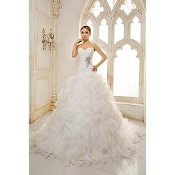 A Line Wedding Dress Chapel Train Sweetheart Organza Satin