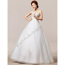 A Line Floor Length Wedding Dress Strapless Organza