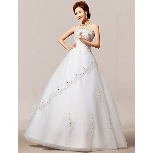 A-line Floor-length Wedding Dress -Strapless Organza Wedding Dresses