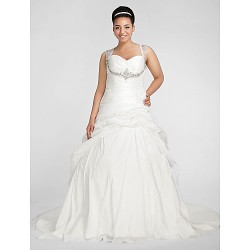 Ball Gown Plus Sizes Wedding Dress White Chapel Train Sweetheart Taffeta