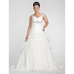 Ball Gown Plus Sizes Wedding Dress White Chapel Train Sweetheart Taffeta