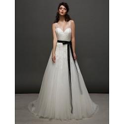 A Line Wedding Dress Ivory Court Train V Neck Tulle